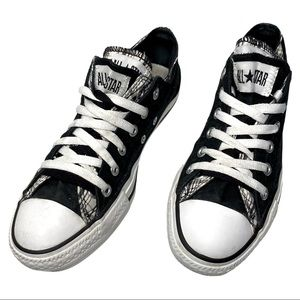 Converse Size 7 Black Plaid Double Layer Laces Upper Low Top Sneakers